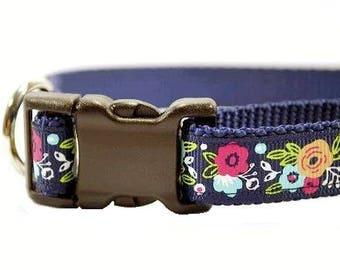 "Navy Dog Collar, Flower Dog Collar, Poppy Collar, Floral Dog Collar, Navy Floral Dog Collar, Girl Collar, 3/4"" thick collar breakaway collar"