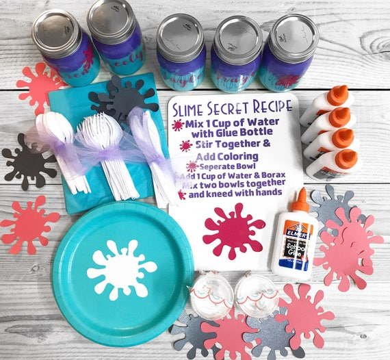 Slime Party Pack Slime Diy Kits Paper Plates Table Cloths