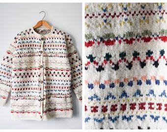 Vintage Ecuadorian wool cardigan | L/XL