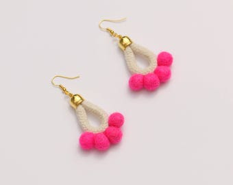 Pink Pom Pom Earrings, Colorful Statement Earrings, Rope Earrings, Textile Earrings, PomPom Jewelry, Fabric Boho Earrings, Playful Earrings