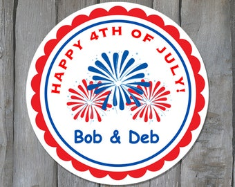 Personalized Fourth of July Envelope Seals  - July 4th Party Favor Labels