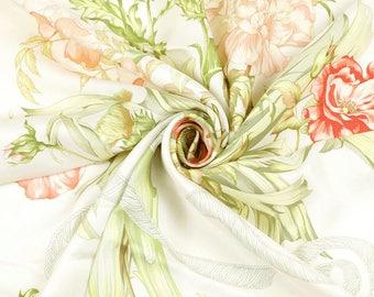 "HERMES SCARF Silk ""Regina"" by Leila Menchari 90cm Carre 100% Auth"