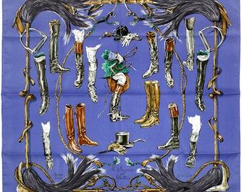 """HERMES SCARF Silk """"Propos de Bottes"""" by Xavier De Poret Vintage 90cm Carre 100% Auth"""