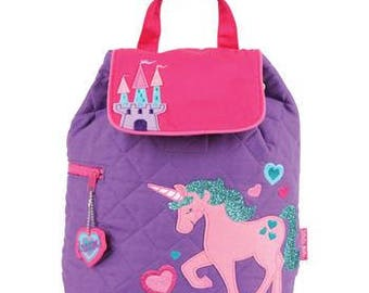 Stephen Joseph Quilted Backpack Unicorn Princess Theme Monogrammed School Backpack