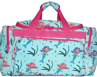 20 inch Mermaid Print Canvas Monogrammed Duffle Bag Hot Pink Trim