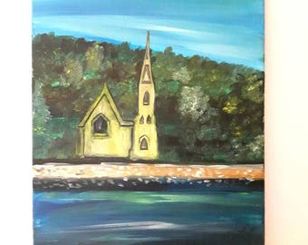 Mahone Bay oil Painting, landscape painting on canvas.