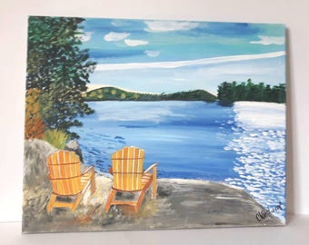 Clearance item, Cottage Country painting on canvas, Lakeside Painting on Canvas