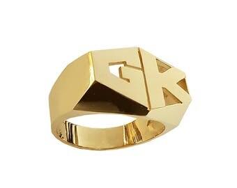 Lee188-14K 12mm 14K Gold Hexagonal Shaped 2-initial Plain Name Ring