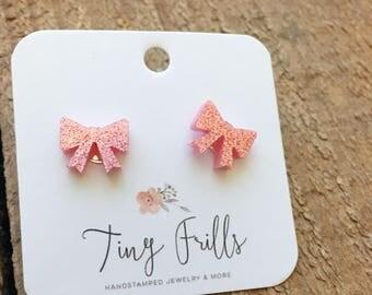Pink Bow Stud Earrings, Glitter Post Earrings
