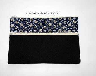 Beautiful Blue Floral and black Pencil case/ Makeup Bag 21.5cm x 14.5cm With Two Pockets and  Cream Zippers,