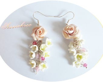 Lily flowers beautiful cold porcelain (creator) earrings