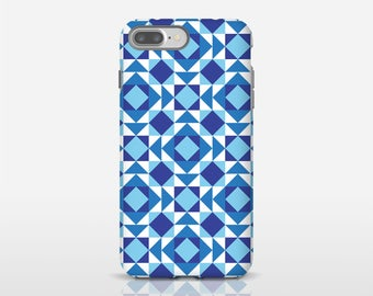 Blue Geometric Phone Case, Barcelona Design, iPhone X Cases, Mobile Phone Covers, Smartphone Case, iPhone Accessory