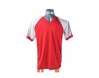 Vintage 80s Adidas Red V-Neck Baseball Tee T-Shirt