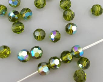 Swarovski 4mm Round (5000) Faceted Crystal Beads - OLIVINE AB - Select 10, 20 or 50 Beads