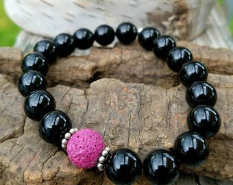NEW-Bracelet-Diffuser-Black Onyx-Pink Lava Bead-Sterling Silver-OOAK-Unique-Handcrafted-Handmade-Gift-Essential Oils