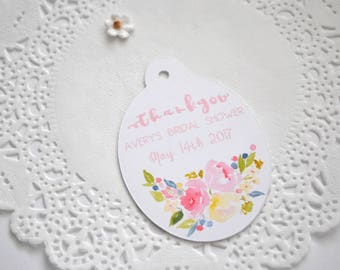 Bridal Shower Thank You Tags | Bridal Shower Gift Tags | Customized Wedding Tags | Custom Favor Tags | Set of 12