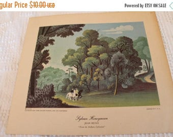 """SALE 1950's Jean Hugo 8.5"""" by 9.5"""" Lithograph of """"Sylvan Honeymoon"""" from the DeBeers Collection"""