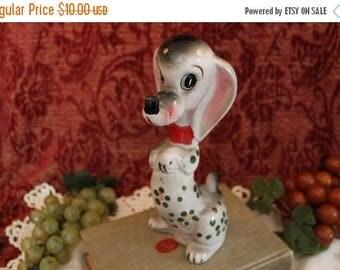 SALE Vintage Lipper & Mann Ceramic Dog with Hand Painted Flowers - Figurine, Japan