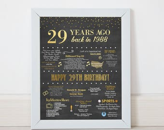 Printable 29th Birthday Chalkboard Sign, Back in 1988, Birthday Gift, Birthday Poster, 1988 Poster, Digital, Download, Sign, MB018