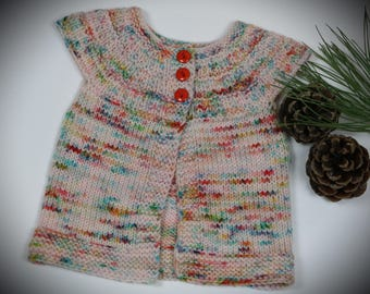 Infant speckled sweater, 3-6 month baby knits, pink baby sweater, colorful sweater