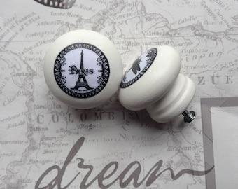 Paris handles | rustic drawer pulls |  decoupaged drawer knobs | white handles