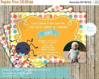 SALE LIMITED TIME Itsy Bitsy Spider Birthday Invitation for Boy 1st Birthday First Birthday Invites Digital Printable