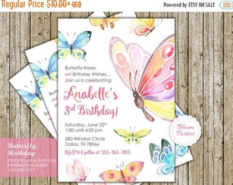 SALE LIMITED TIME Butterfly Birthday Invitation Butterfly Kisses and Birthday Wishes Butterfly Birthday Party Digital Printable Invites
