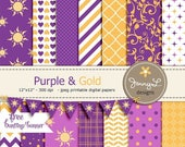 50% OFF Purple and Yellow Gold Princess Digital Papers, Inspired Printable Digital Background Papers, Sun, hearts, Chevron, Flourish, Quatre