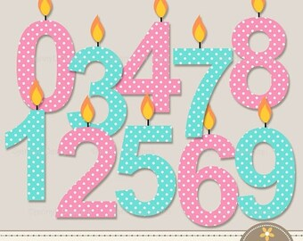 50% OFF Polka Dot Number Candles Clipart, Pink and Turquoise Birthday Party Numbers with flame,