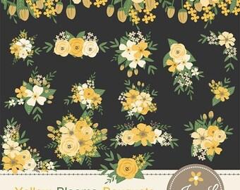 50% OFF Yellow Flower Bouquet Clipart, Wedding Flowers, Flower Bunches, Floral Arrangement for digital Scrapbooking, Wedding, Save the Date