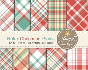 50% OFF Retro Christmas Plaids Digital Papers, Vinatge Christmas, Holiday red blue Digital ScrapbookingPaper for scrapbooking, planner, invi