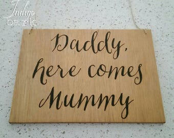 Hand burnt (or painted) wooden sign for flower girls, page boy, ring bearer