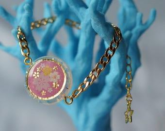 White and Pink Sakura Resin Bracelet - Nickel free