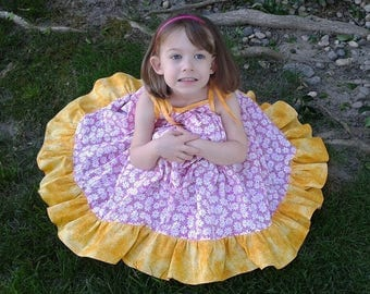 Girls Summer twirly dress, VFT London, Girls Sundress, twirly dress, flower dress, made to order