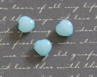 10 turquoise 10x10x6mm acrylic heart beads