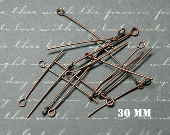 20 nails copper 30mm metal eyelet