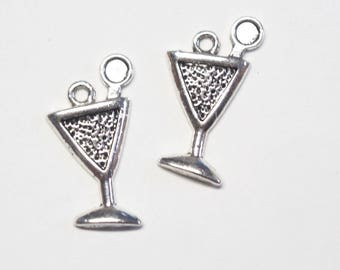 2 charms silver 21x12mm exotic cocktail Cup