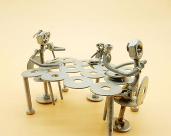 Art metal recycling recycled metal art gift home decor collection items table family family holiday sale figurines