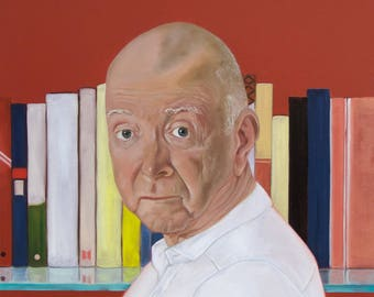 "Oil painting ""Book shelf"", 2014, male portrait"