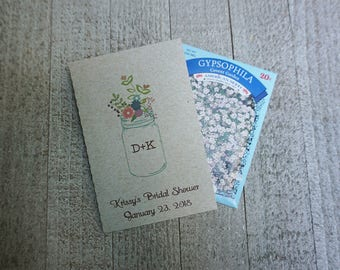 Bridal Shower Mason Jar Seed Packet Wedding Favors,Custom Seed Packets,Personalized Envelopes,Seed Packet