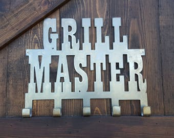 Grill Sign, Grilling Master, BBQ Sign, Rustic Farmhouse style Decor,  Man-ave Wall Art, BBQ Tool hanger, Fathers Day Gift, Patio Sign