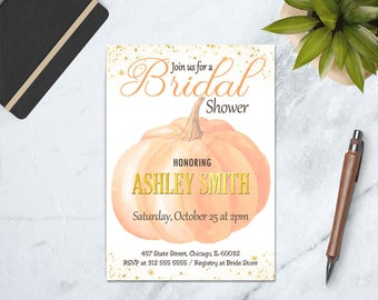 Fall Bridal Shower Invitation, Autumn Bridal Shower Invite, Fall in Love Bridal Shower, Pumpkin Bridal shower Invitation, Autumn Shower