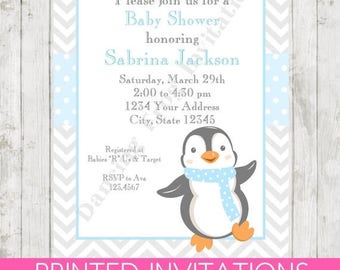 SALE Penguin Baby Shower Invitations - Printed Penguin Baby Shower Invitation by Dancing Frog Invitations