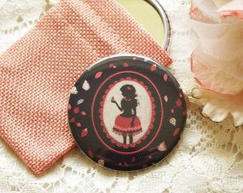 "Pocket Mirror - retro mirror - illustrated mirror -silhouette - ""Strawberry Field"""