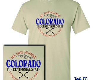 COLORADO The Centennial State T-Shirt full color Happy Birthday I Love Nature Hiking Outdoors Climbing Hunting Native to