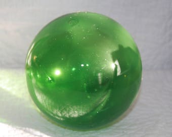 E1 Vintage Green Fishing Float Hand Blown Glass
