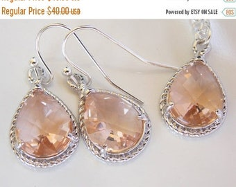 SALE Bridesmaid Jewelry Set, Peach Earrings and Necklace Set, Champagne, Blush, Sterling Silver, Wedding Jewelry, Dangle, Gift, Drop, Pendan