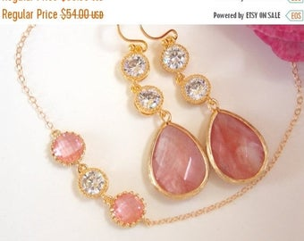 SALE Wedding Jewelry, Bridesmaid Jewelry,Coral and Cubic Zirconia Set,Coral And Cubic Zirconia Earrings and Bracelet, Gifts,Set,Gold,Dangle,