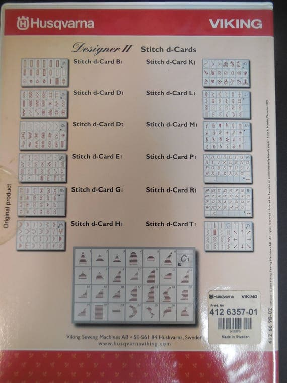 Pre Owned Husqvarna Viking Stitch D Cards For Designer Ii