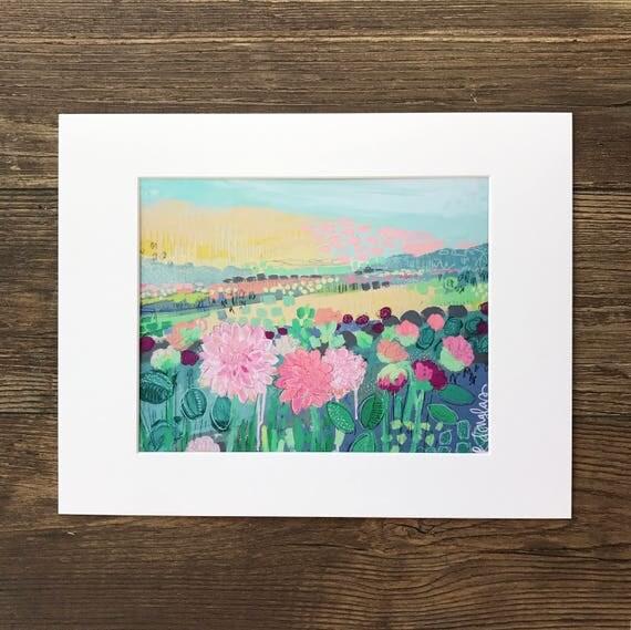 """Modern Mixed Media Landscape - """"Field of Flowers"""""""